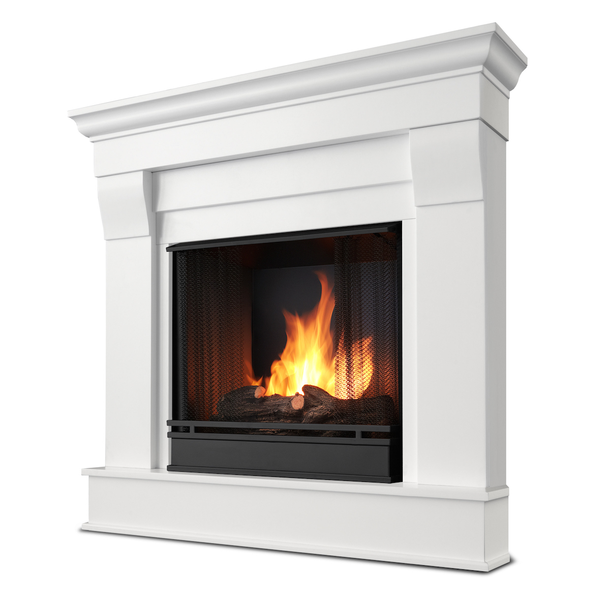 Real flame chateau corner ventless gel fireplace in white for Indoor corner fireplace