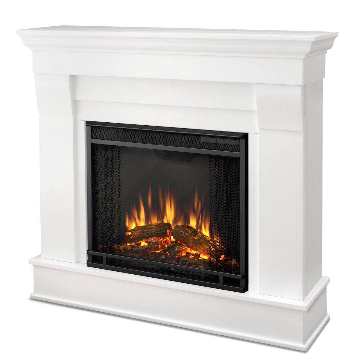 Real flame chateau electric fireplace in white for Direct flame
