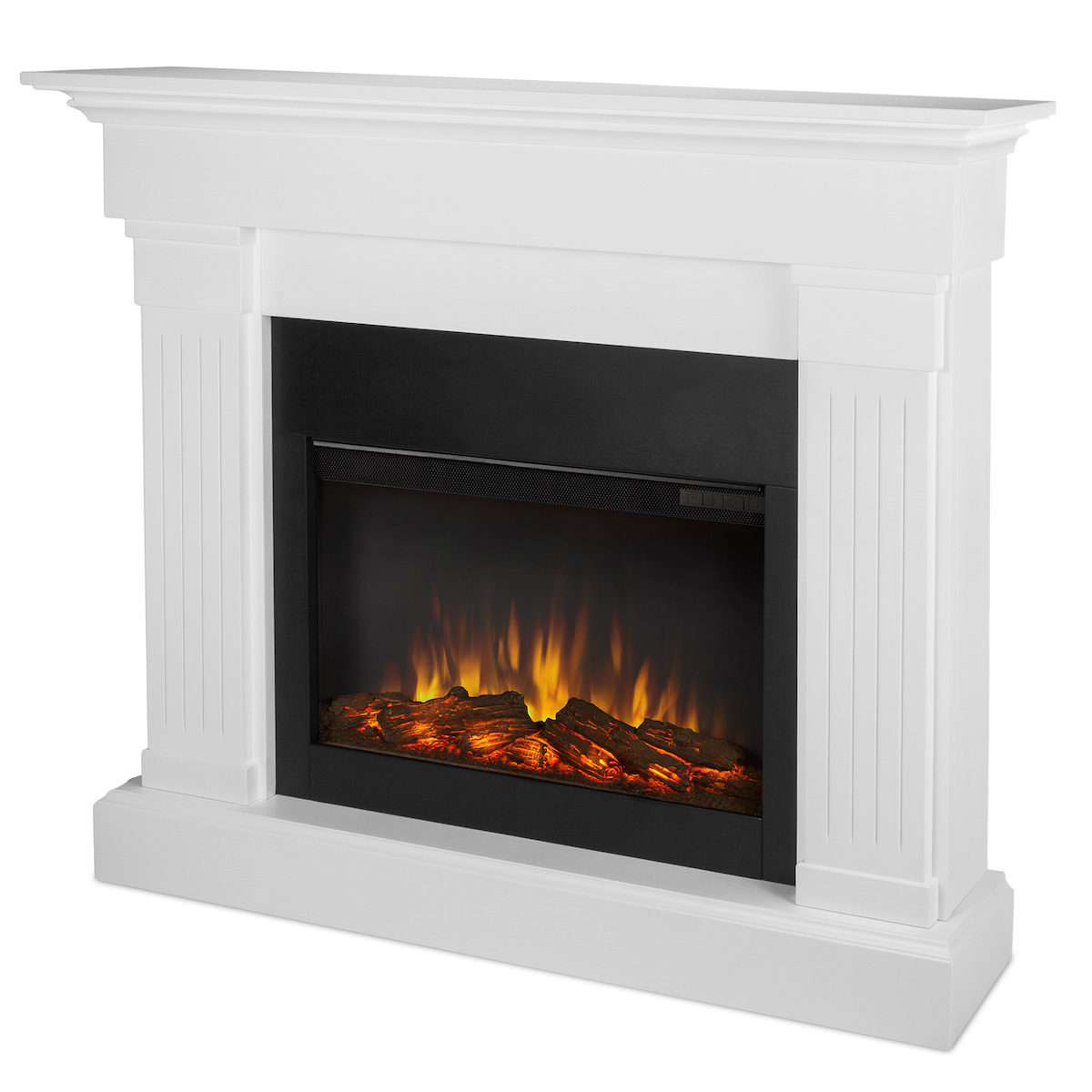 Real Flame Crawford Slim Line Electric Fireplace In White