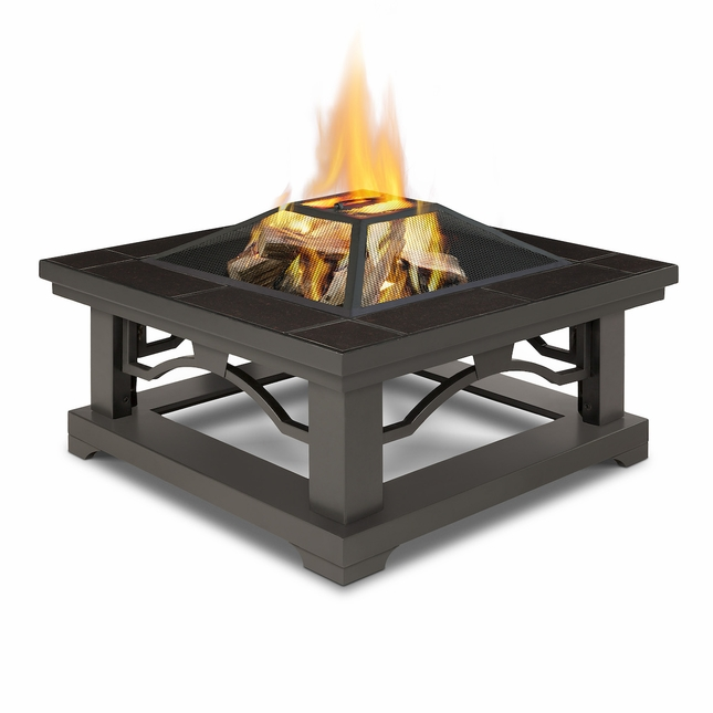 Real Flame Crestone Wood Burning Outdoor Fire Pit with Brown Tile