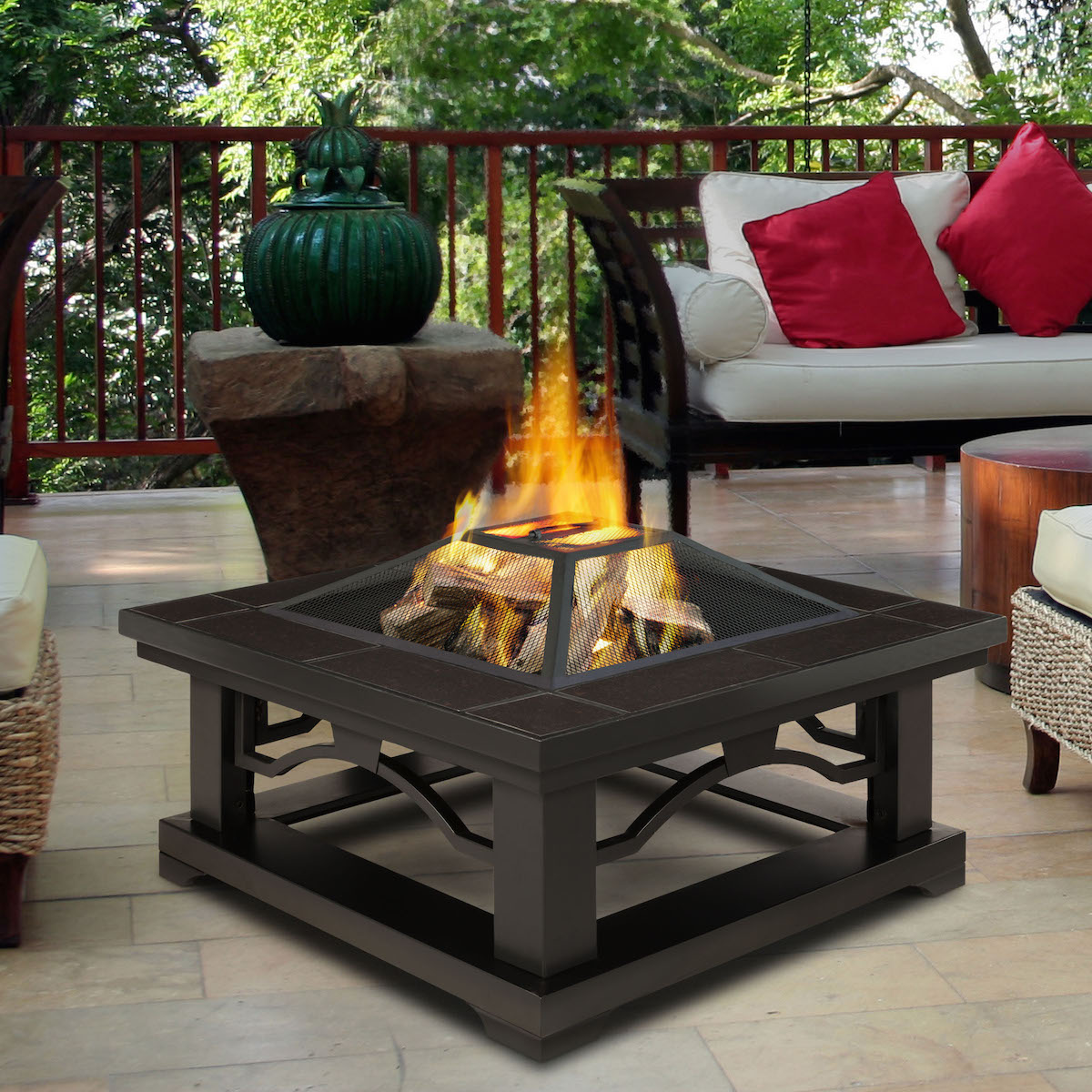 Real Flame Crestone Fire Pit with Brown Tile on For Living Lawrence Fire Pit id=39193