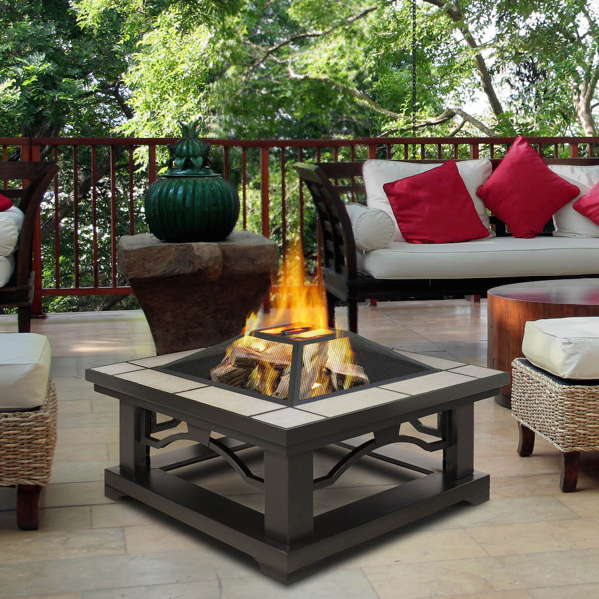 Real Flame Crestone Wood Burning Outdoor Fire Pit with ... on For Living Lawrence Fire Pit id=50119