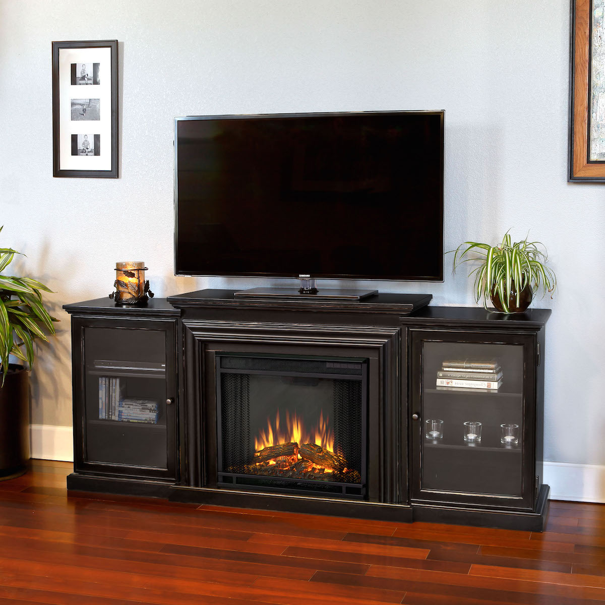 Real Flame Frederick Entertainment Center Electric Fireplace In Blackwash