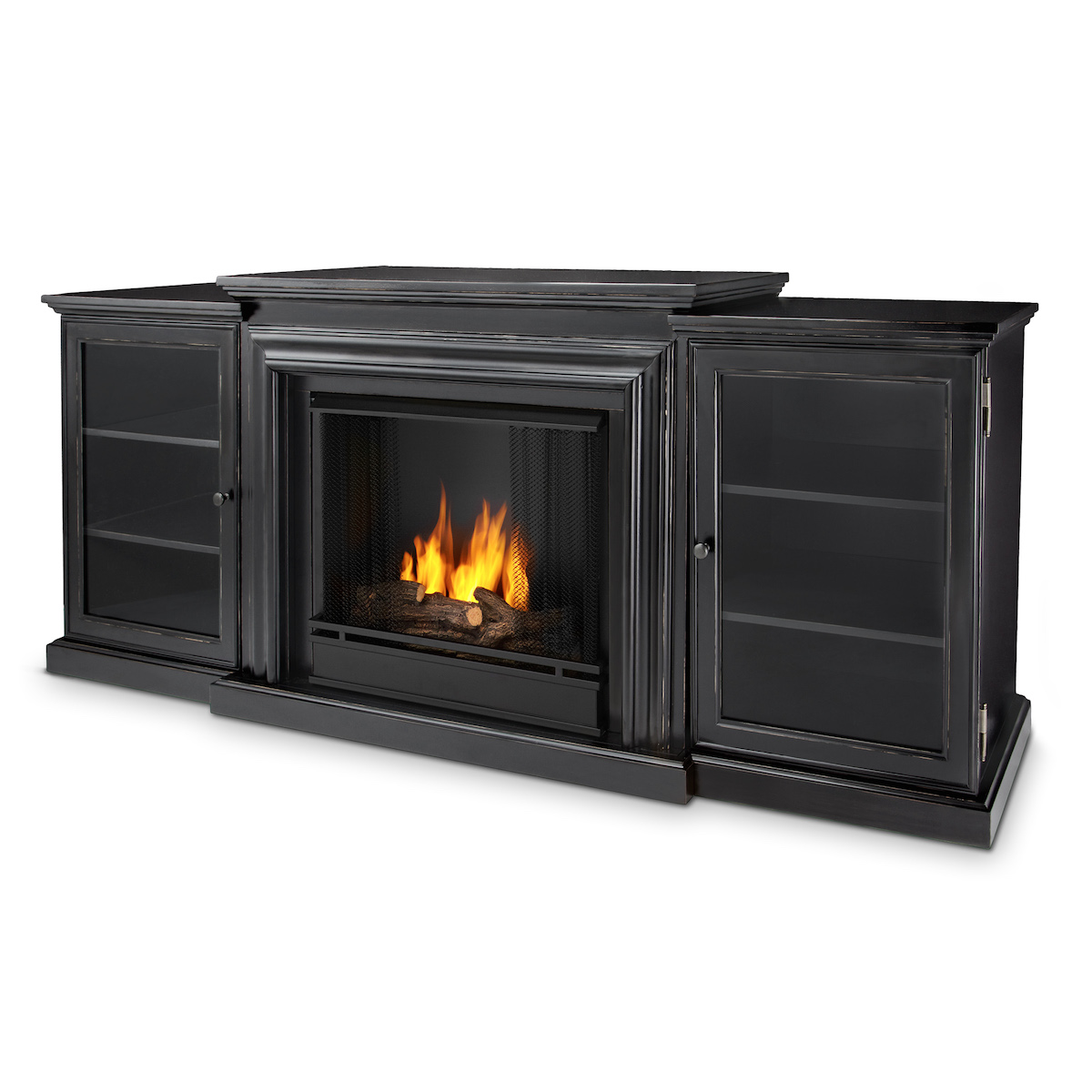 Real Flame Frederick Entertainment Center Ventless Gel Fireplace In Blackwash