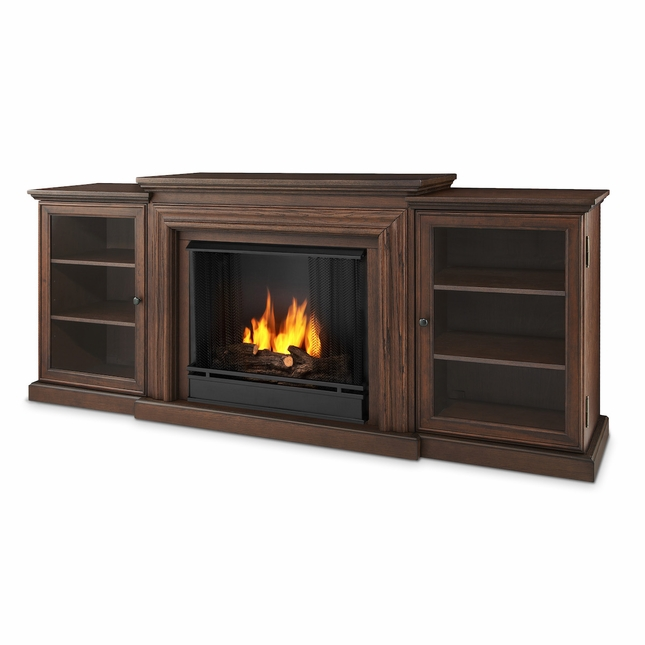 Real Flame Frederick Entertainment Center Ventless Gel Fireplace in Chestnut Oak