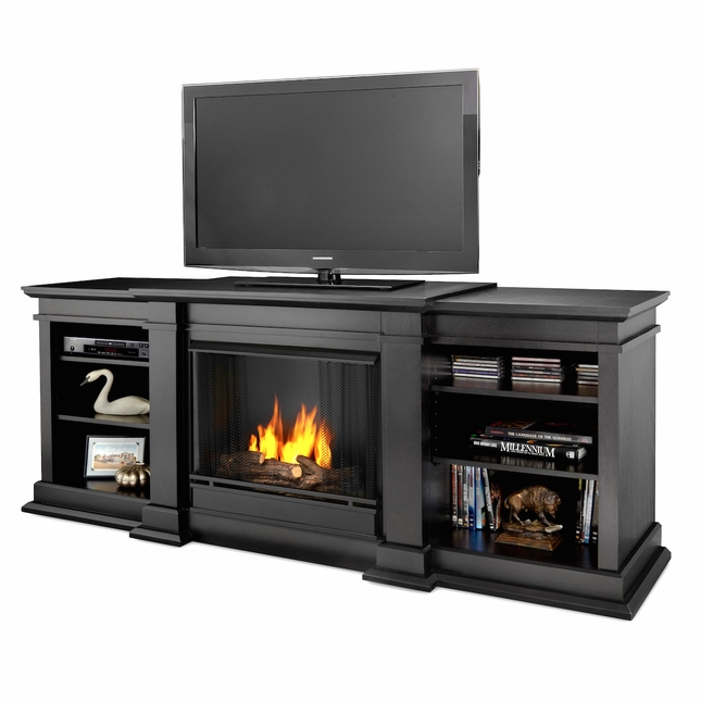 Real Flame Fresno Ventless Gel Fireplace in Black