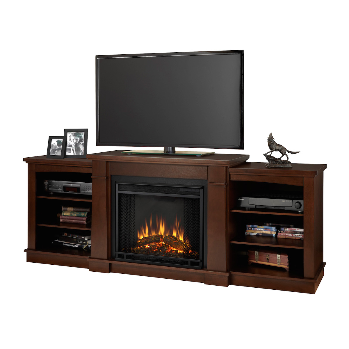 Real flame hawthorne electric fireplace in dark espresso for 100 inch media console