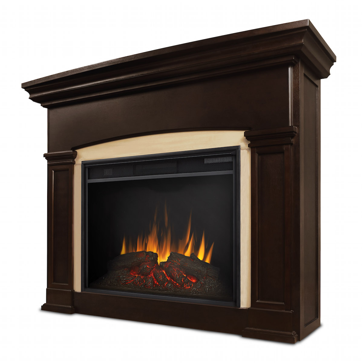 Real flame holbrook grand electric fireplace in dark walnut for Direct flame