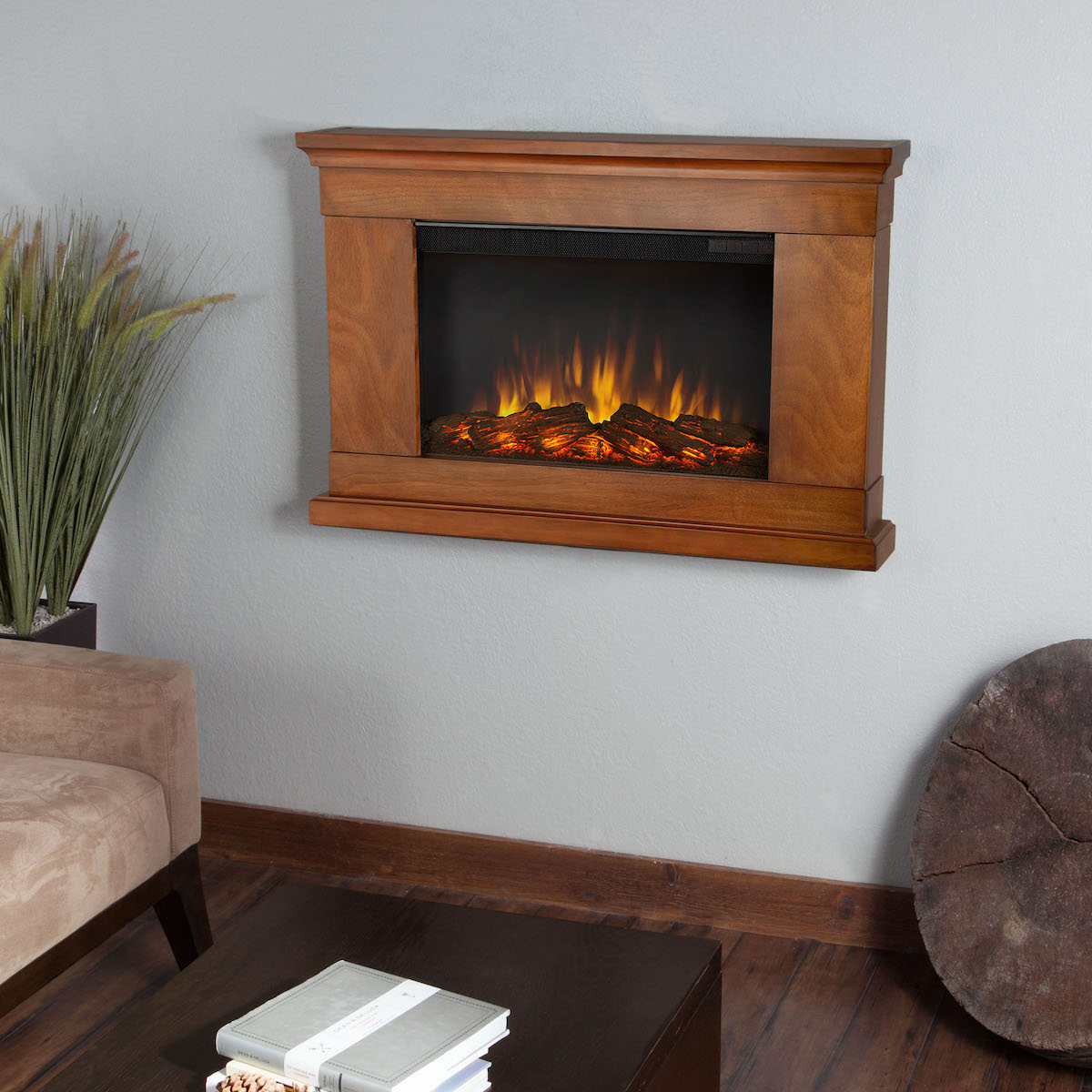 Real Flame Jackson Slim Line Wall Hung Electric Fireplace In Pecan