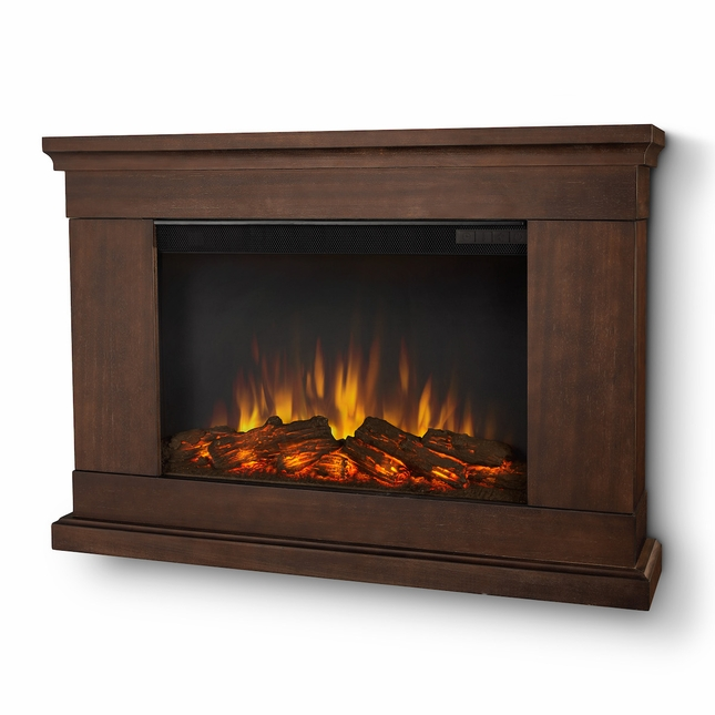 Real Flame Jackson Slim Line Wall Hung Electric Fireplace in Vintage Black Maple