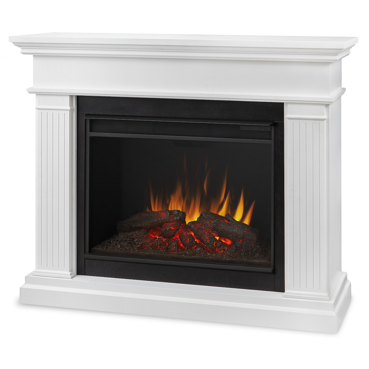 Real flame kennedy grand electric fireplace in white for Electric fireplace pics