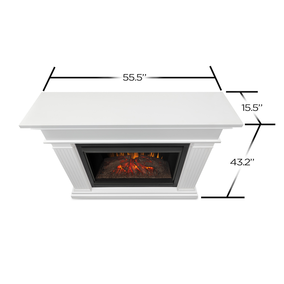 Real flame kennedy grand electric fireplace in white for Direct flame