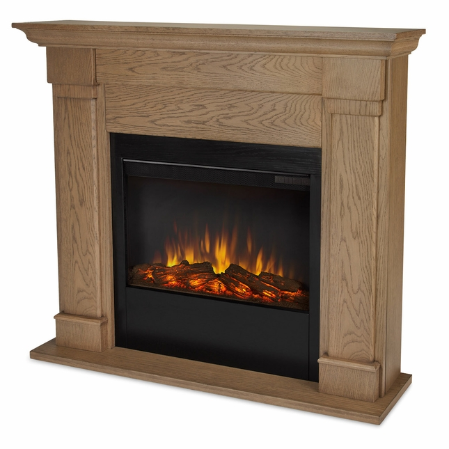 Real Flame Lowry Slim Line Electric Fireplace in Blonde Oak