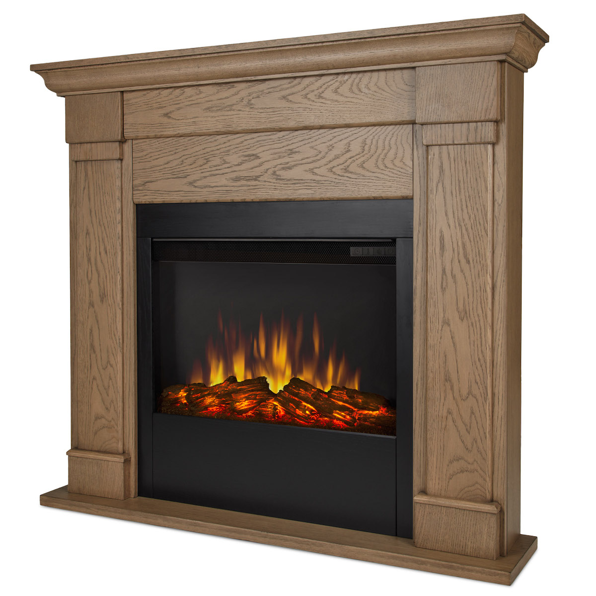 Real flame lowry slim line electric fireplace in blonde oak for Direct flame
