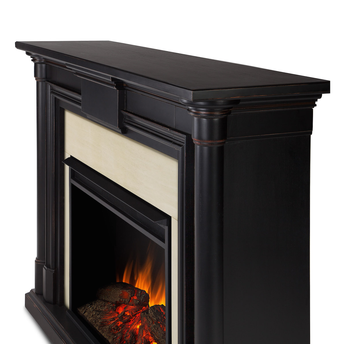 Real flame maxwell grand electric fireplace in blackwash for Direct flame