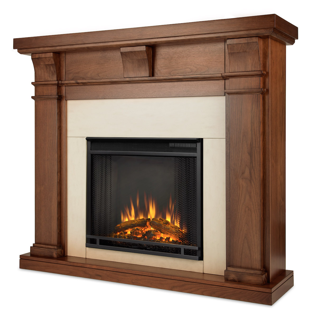 Real Flame Porter Electric Fireplace in Walnut