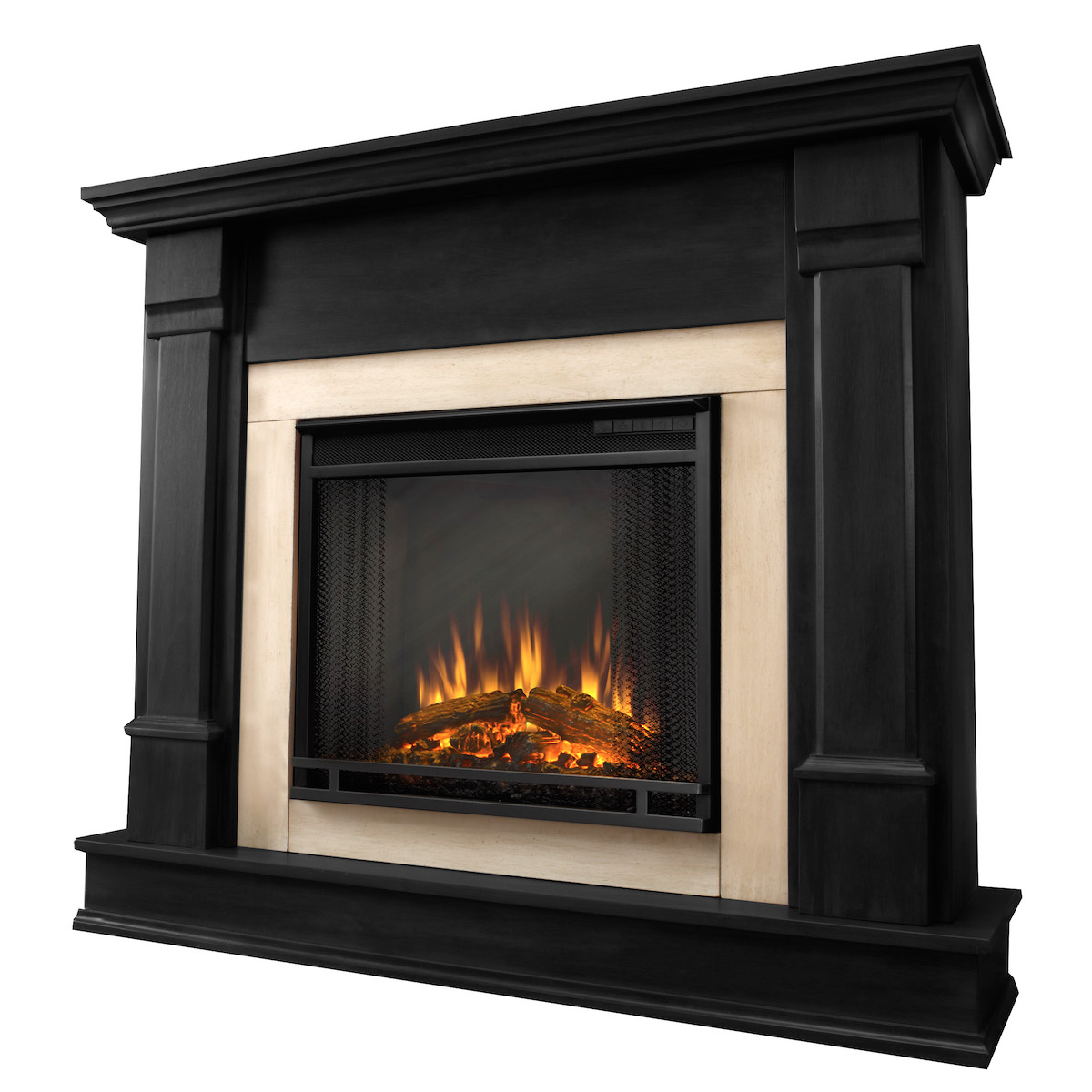 Real flame silverton electric fireplace in black - Black and white fireplace ...