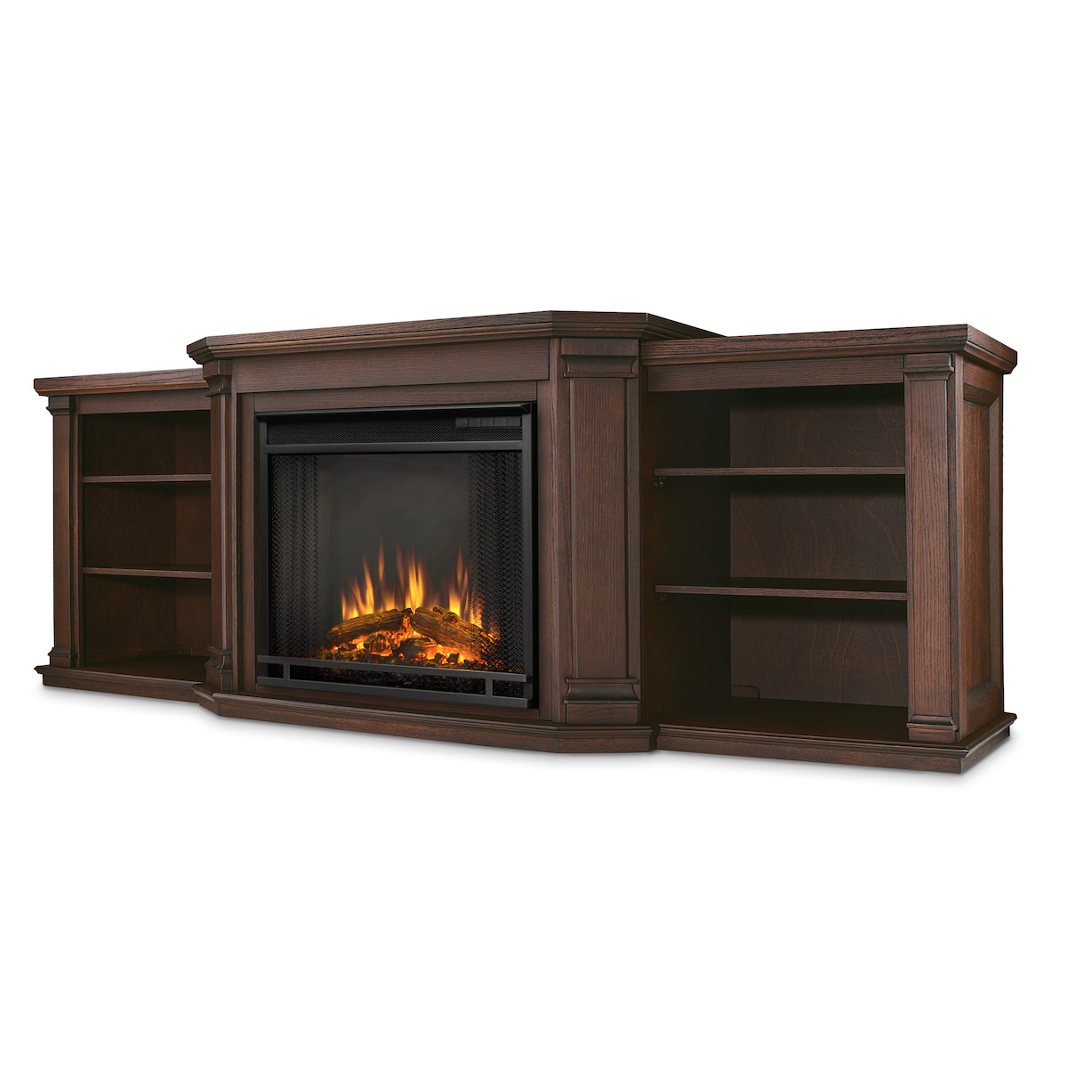 Real Flame Valmont Entertainment Center Electric Fireplace In Chestnut Oak