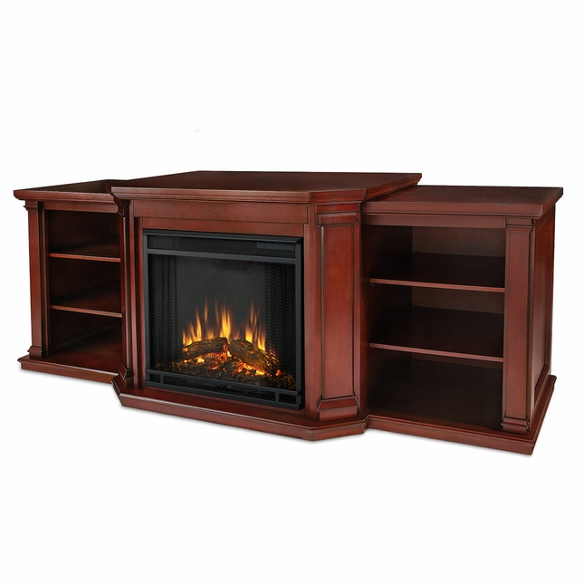 Real Flame Valmont Entertainment Center Electric Fireplace in Dark Mahogany