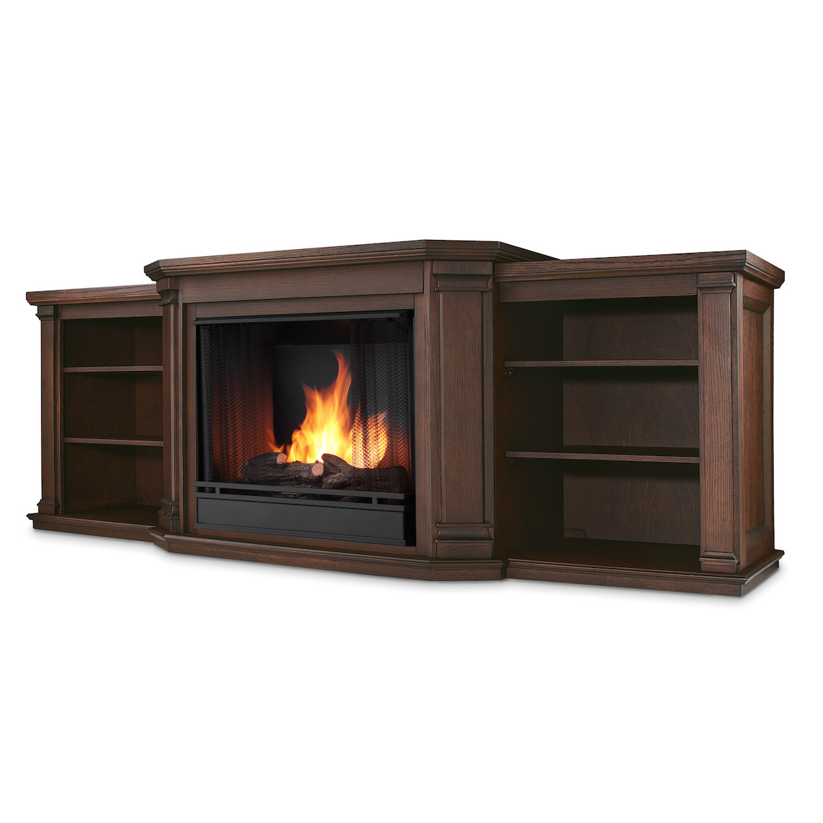 Real Flame Valmont Entertainment Center Ventless Gel Fireplace In Chestnut Oak