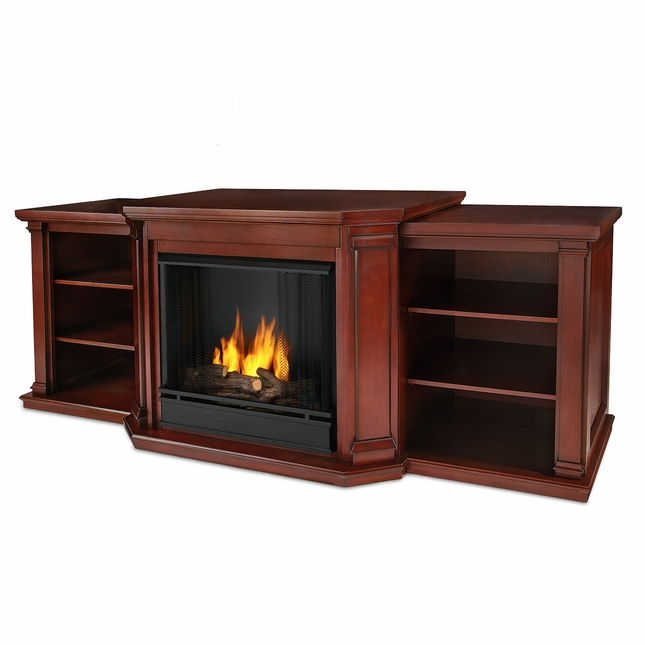 Real Flame Valmont Entertainment Center Ventless Gel Fireplace in Dark Mahogany