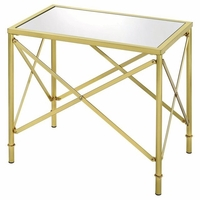 Rectangular Glass Accent Table with Brushed Bass Base