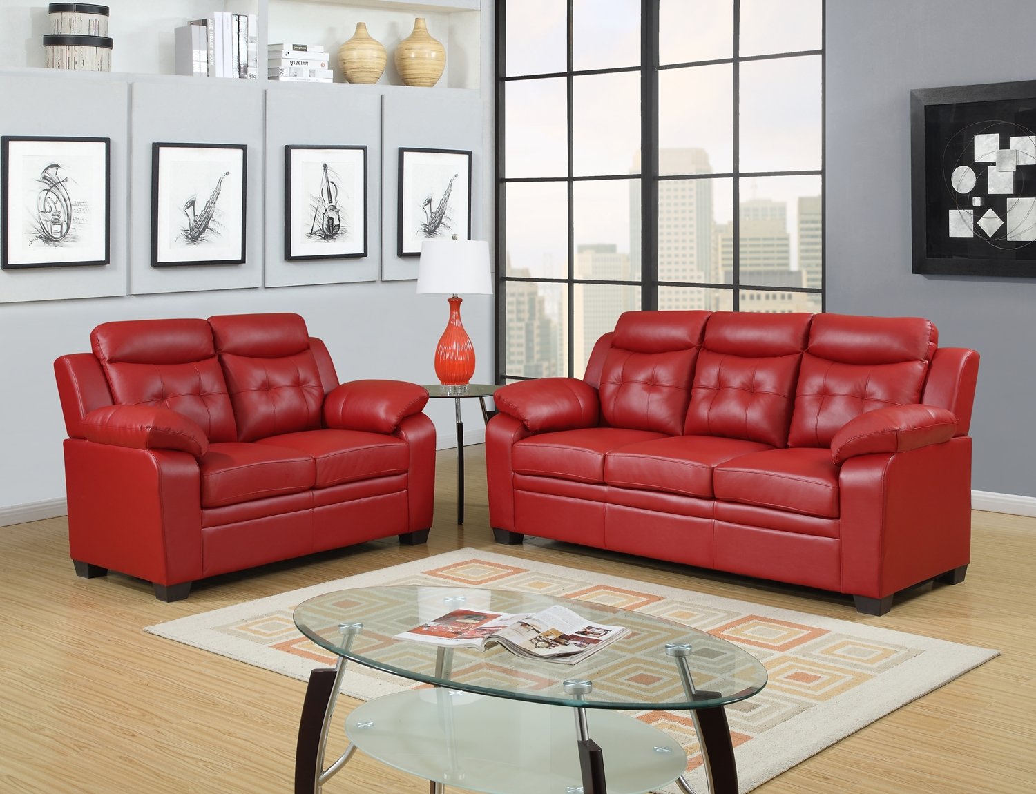 Red apartment sized casual contemporary bonded leather for Apartment size leather sofa