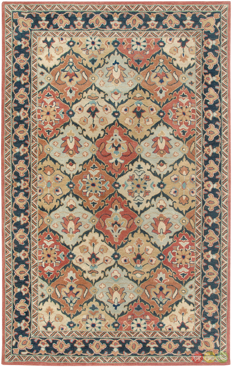 Rizzy rugs red blue traditional hand tufted area rug for Red and blue area rug
