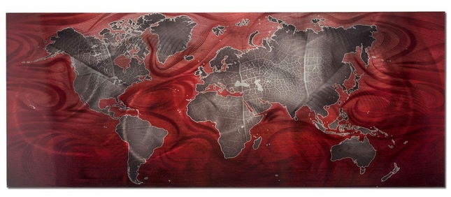 Red/Pewter Land & Sea v2 Modern Map Metal Wall Art L0221