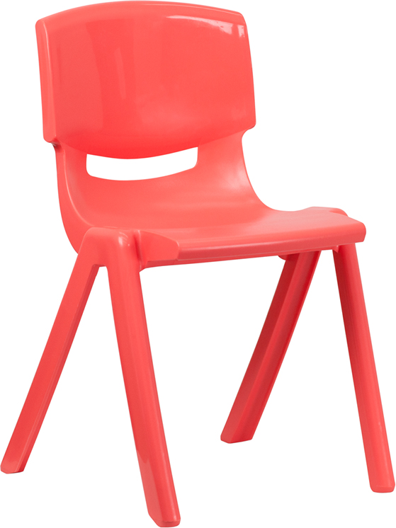 Red Plastic Stackable School Chair With 18 Inch Seat