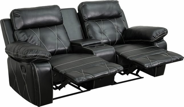 Reel Comfort 2-seat Reclining Black Leather Theater Seats W/ Cup Holders