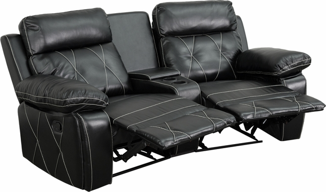 Reel Comfort 2-seat Reclining Black Leather Theater Seats W/ Curved Cup Holders