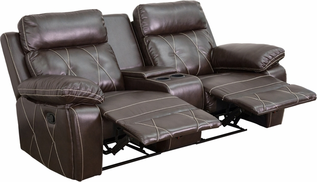 Reel Comfort 2-seat Reclining Brown Leather Theater Seats W/ Cup Holders