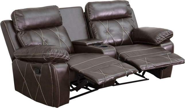 Reel Comfort 2-seat Reclining Brown Leather Theater Seats W/ Curved Cup Holders