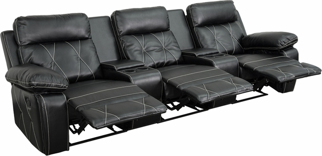 Reel Comfort 3-seat Reclining Black Leather Theater Seats W/ Cup Holders