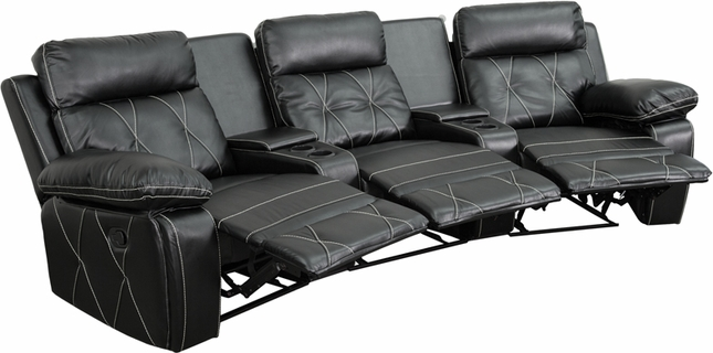 Reel Comfort 3-seat Reclining Black Leather Theater Seats W/ Curved Cup Holders
