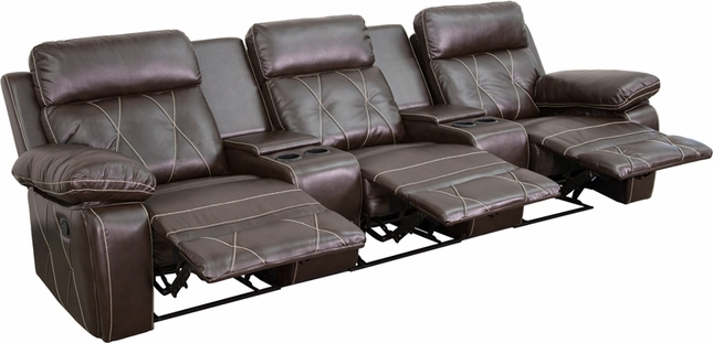 Reel Comfort 3-seat Reclining Brown Leather Theater Seats W/ Cup Holders