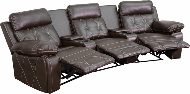 Reel Comfort 3-seat Reclining Brown Leather Theater Seats W/ Curved Cup Holders