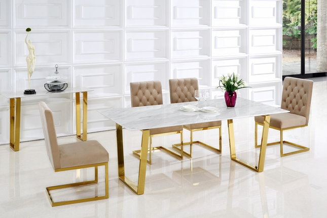 Reese Contemporary Marble Top Gold Dining Set W Gold