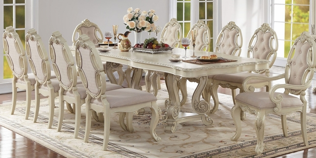 Reginald Antique White Formal Double Pedestal 90 114 Dining Table