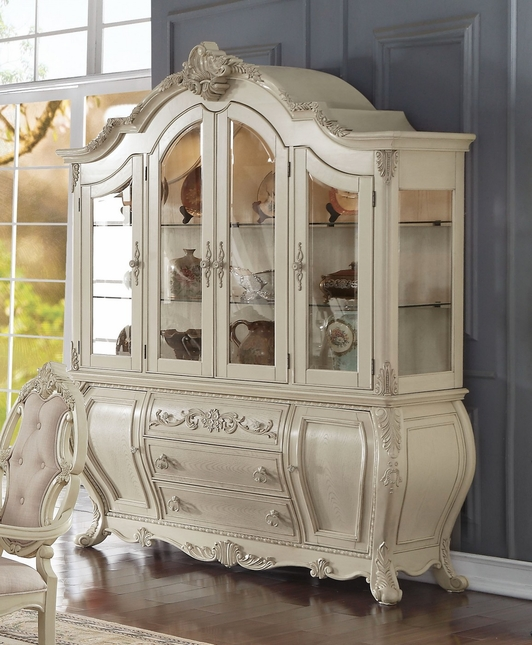Reginald Traditional Formal China Cabinet in Antique White Wood Finish - Traditional Formal China Cabinet In Antique White Wood Finish
