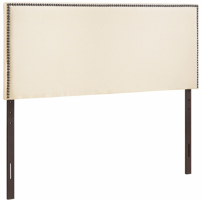 Region King Nail Head Trimmed Upholstered Headboard, Ivory