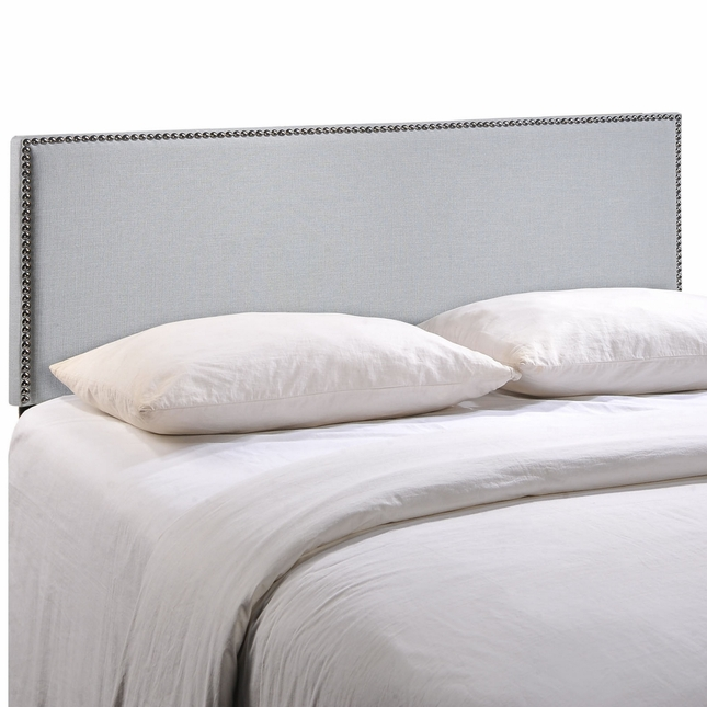 Region King Nail Head Trimmed Upholstered Headboard, Sky Gray