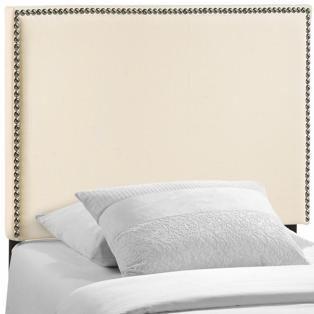 Region Twin Nail Head Trimmed Upholstered Headboard, Ivory