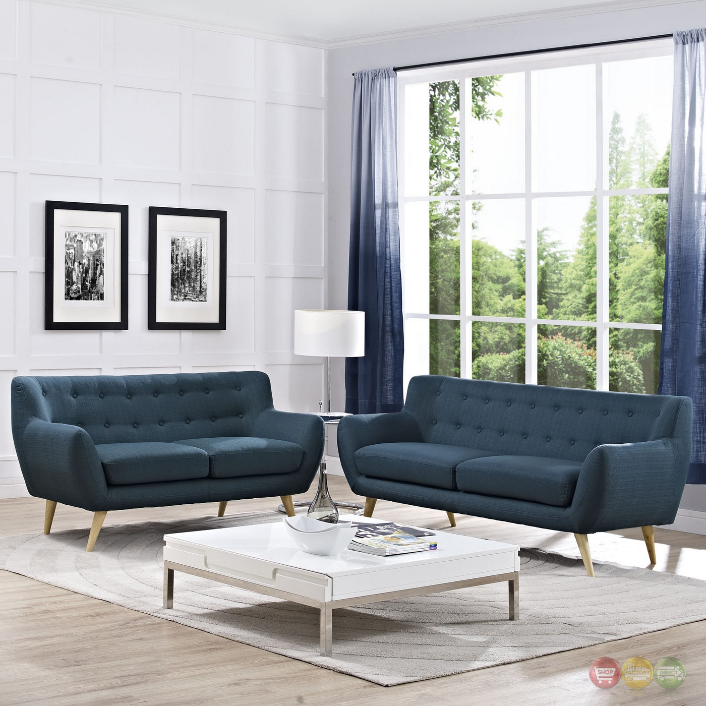 Remark Modern 2pc Button Tufted Upholstered Living Room Set Azure