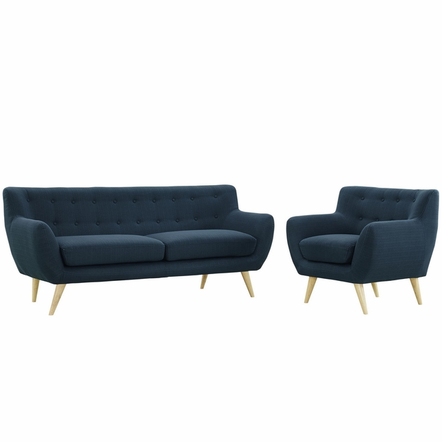 Mid-Century Modern Remark 2pc Button-Tufted Living Room Set, Azure