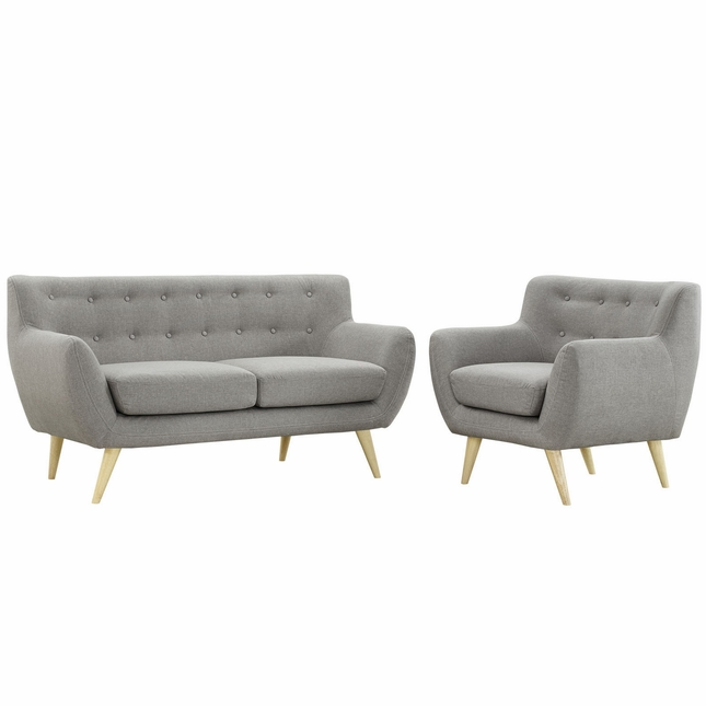 Mid-Century Modern Remark 2pc Button-Tufted Living Room Set, Light Gray