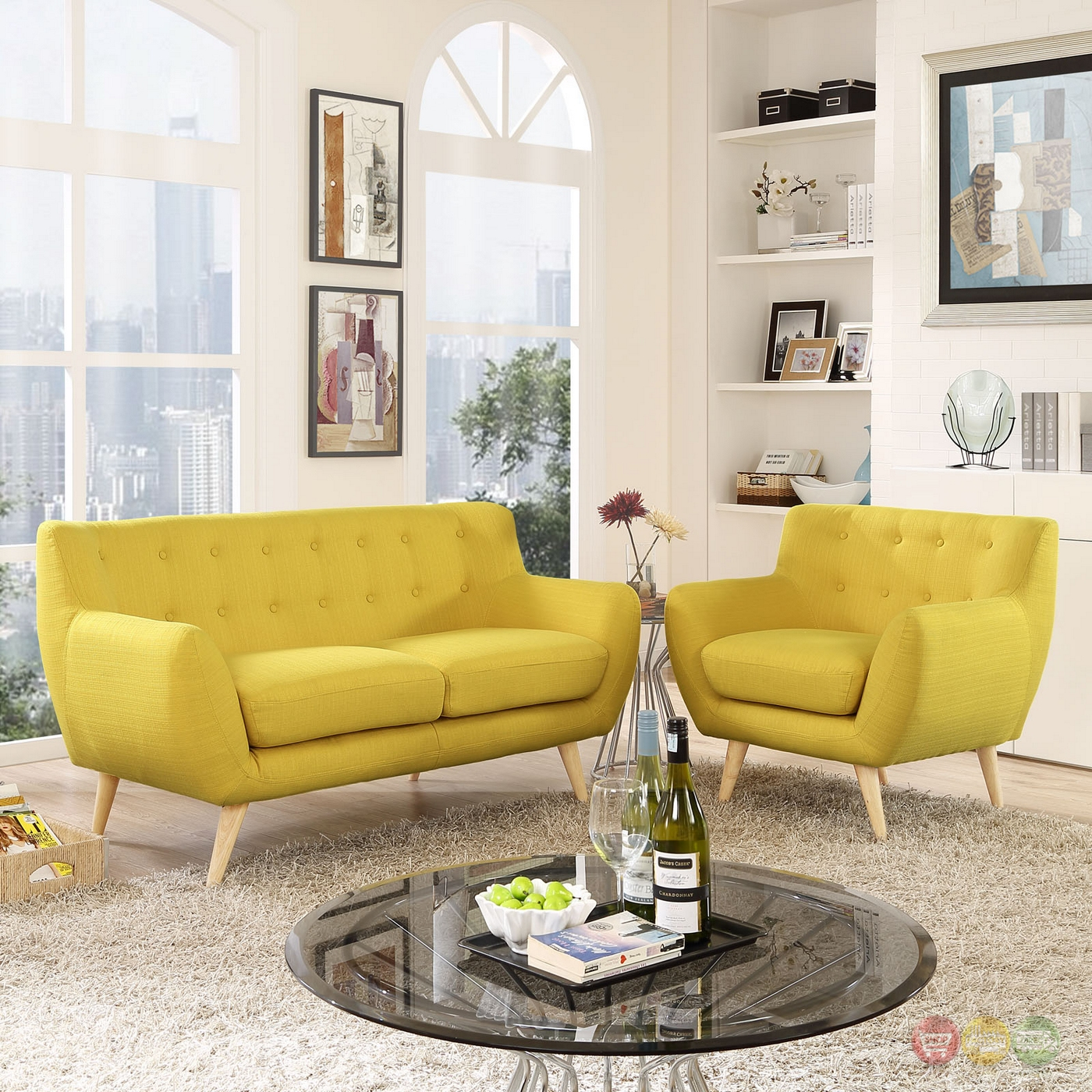 Remark Modern 2pc Button Tufted Upholstered Living Room Set Sunny