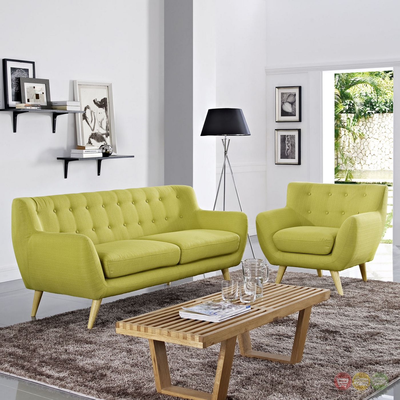 Remark Modern 2pc Button Tufted Upholstered Living Room Set Wheat