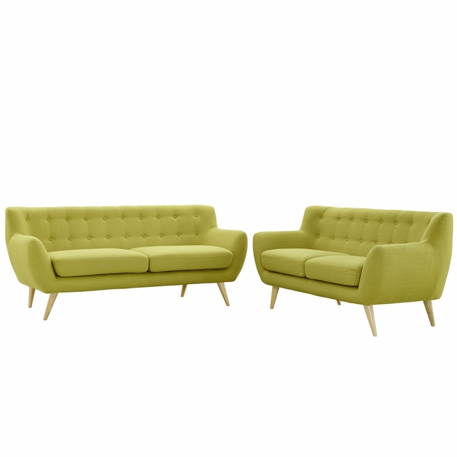 Mid-Century Modern Remark 2pc Button-Tufted Living Room Set, Wheat